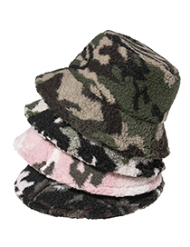 Fashion Pink Camouflage Lamb Wool Print Fisherman Hat