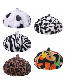 Fashion Big Cow Pattern Letter Cow And Leopard Print Plush Beret