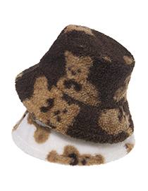Fashion Brown Bear Print Lamb Wool Fisherman Hat