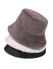 Fashion Brown Thick Mink Pure Color Fisherman Hat