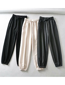 Fashion Black Threaded Thickened Wide Loose Trousers