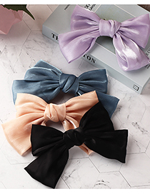 Fashion Purple Pearly Satin Bow Hairpin