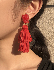Fashion Red Alloy Tassel Earrings