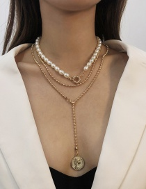 Fashion Golden Alloy Pearl Multilayer Necklace