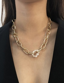 Fashion Golden Alloy Pearl Necklace