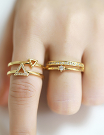 Fashion Triangle Gold-plated Copper And Diamond Geometric Open Ring