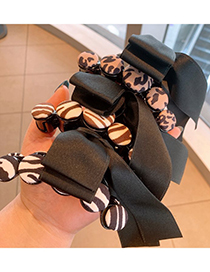 Fashion Coffee Color Leopard Striped Bow Resin Grip