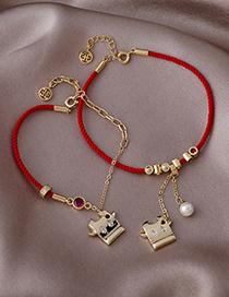 Fashion Red String Full Diamond Calf Pearl Red String Braided Bracelet