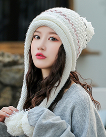 Fashion Red Double Layer Plus Velvet Ear Protection Wool Color-block Knitted Hat