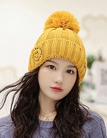Fashion Red Wine Smiley Embroidered Plus Velvet Knitted Hat
