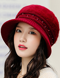 Fashion Red Rabbit Fur Thickened Warm Ear Protection Knitted Basin Hat