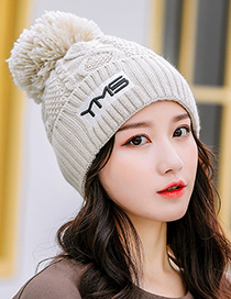 Fashion Milky White Plush Thick Warm Ear Protection Wool Embroidery Knitted Hat