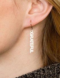 Fashion Bb Font-rose Gold Stainless Steel Letter Geometric Earrings