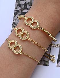 Fashion Golden Copper Inlaid Zircon Thick Chain Ring Bracelet