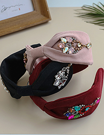 Fashion Black Fabric Rhinestone Knotted Water Drop Headband