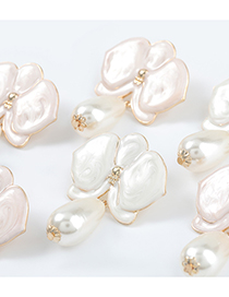 Fashion White Alloy Dripping Flower Imitation Pearl Earrings