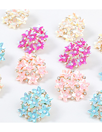 Fashion Pink Round Multilayer Resin Flower Diamond Pearl Earrings
