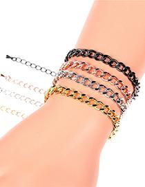 Fashion Black Thick Chain Geometric Gold-plated Copper Bracelet