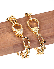 Fashion Golden B Gold-plated Copper Bracelet With Diamond Spring Clasp Horseshoe U-shaped Thick Chain