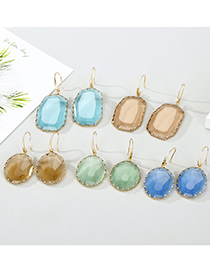Fashion Round Blue Round Crystal Irregular Faceted Glass Edging Earrings