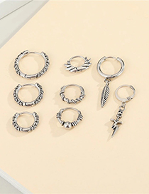 Fashion Star Anise Titanium Steel Carved Twisted Rope Geometric Earrings
