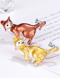 Fashion Yellow Alloy Cat Brooch