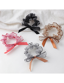 Fashion Coffee Color Net Yarn Ballet Bow Bow Bow Hair Rope