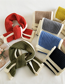 Fashion Lotus Root Starch Contrast Stitching Wool Knitted Scarf