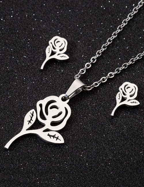 Conjunto De Collar De Pendientes De Rosas Huecas
