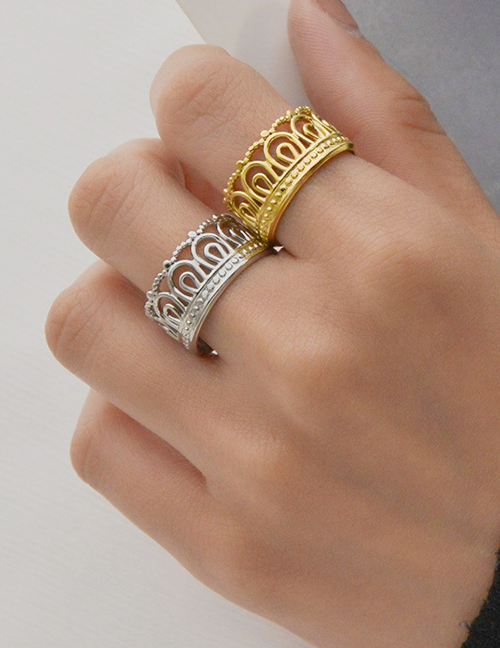 Fashion Steel Color Stainless Steel Hollow Crown Ring