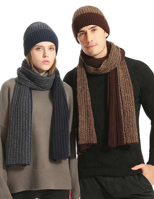 Fashion Black Woolen Knitted Hat Scarf And Gloves Set