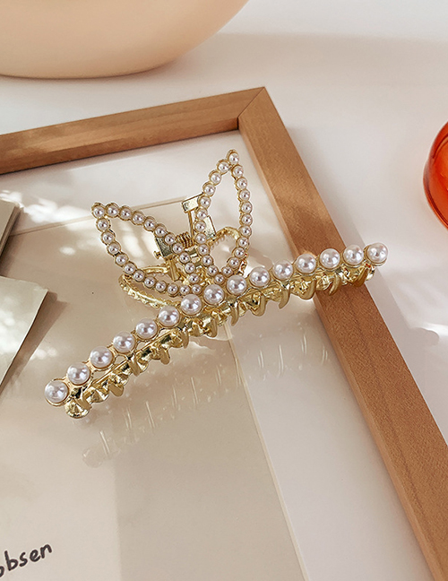 Gold Color Color Pearl Bunny Ear Clamp