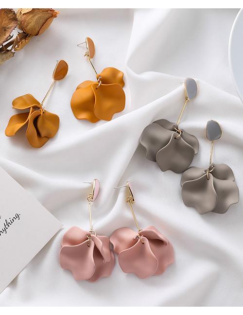 Fashion Orange Short Acrylic Petal Earrings