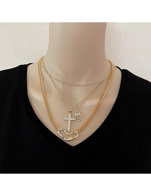 Collar De Corazón De Amor De Cruz De Palma De Ojo Chapado En Oro De Acero De Titanio