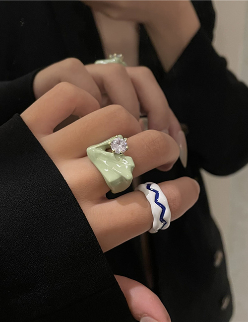 Fashion White And Green Geometry Double Spray Paint Dripping Ring