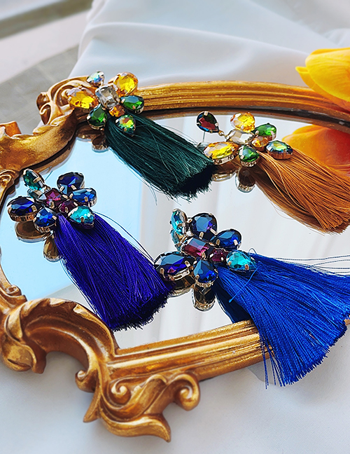 Fashion Ginger Candy Alloy Diamond Drop Tassel Earrings