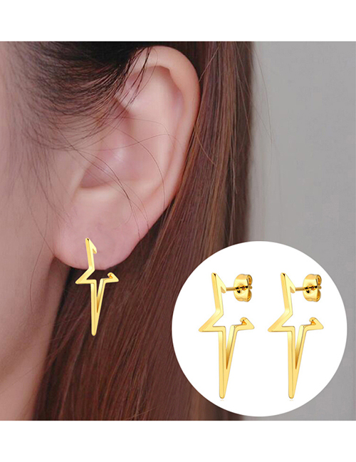 Fashion Rose Stainless Steel Geometric Five-pointed Star Earrings