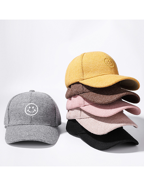 Fashion Pink Smiley Embroidered Baseball Cap