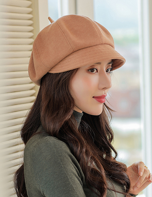 Fashion Coffee Color Micro-pleated Octagonal Beret