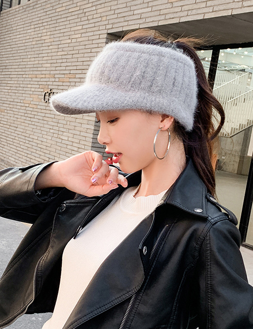Fashion Wine Red Letter Embroidery Empty Top Knitted Hat