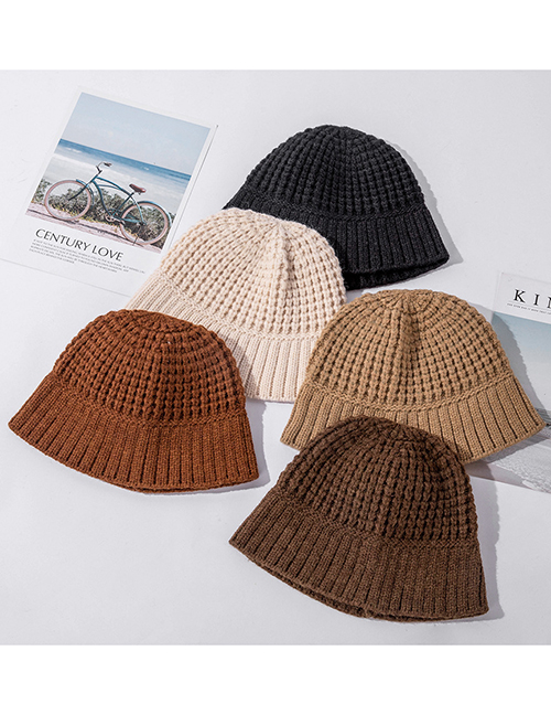 Fashion Coffee Color Wide-brimmed Knitted Woolen Hat