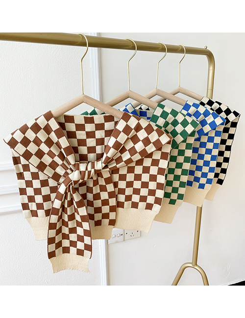 Fashion Two-color Grid Blue Checkered Knotted Knit Shawl