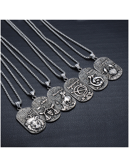 Fashion Aries (with Picture Chain) Stainless Steel Ancient Greek Zodiac Black Diamond Necklace