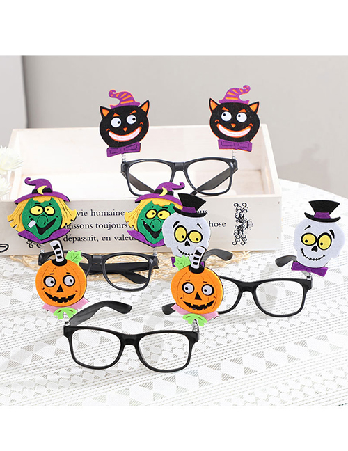 Fashion Blue Wings Halloween Pumpkin Witch Skull Glasses Frame