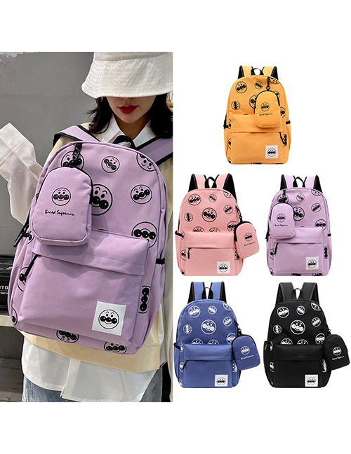 Fashion Pink Nylon Printed Backpack With Pockets