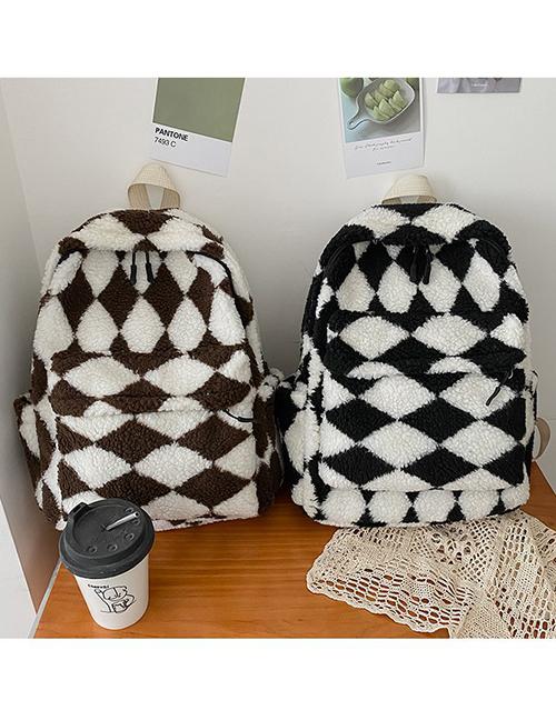 Fashion Brown + Briquettes Plush Rhombus Backpack