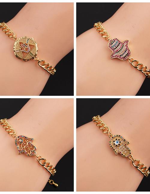 Fashion 3# Copper Gold Color-plated Color Zirconium Chain Eye Bracelet