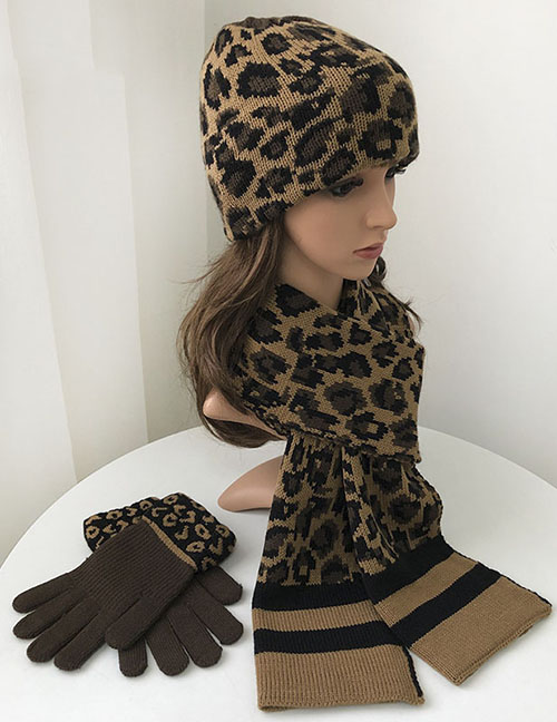 Fashion Leopard Print-suit Leopard Print Woolen Knitted Gloves And Scarf Set