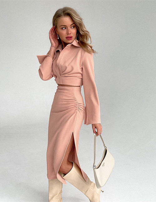 Fashion Pink Lapel Collar Long-sleeved Top Pleated Hip-length Skirt Suit