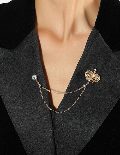 Fashion Gold Color Alloy Crown Chain Brooch